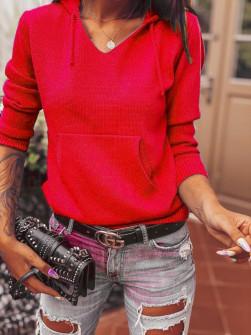 Γυναικείο πουλόβερ με τσέπη  8069 κόκκινο