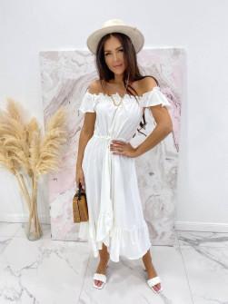 Γυναικείο φόρεμα με κουμπιά 3726 άσπρο