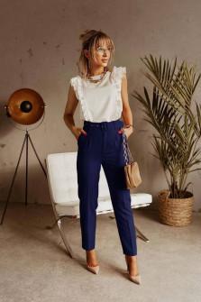 Γυναικείο παντελόνι με ζώνη 5557 σκούρο μπλε