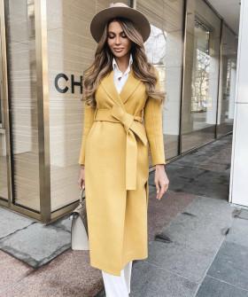 Γυναικείο κομψό παλτό με ζώνη και φόδρα 5357 κίτρινο