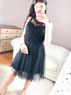 Γυναικείο φόρεμα με τούλι και δαντέλα 8523 μαύρο