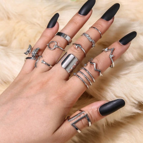 Γυναικείο σετ δαχτυλίδια SP313 ασημί