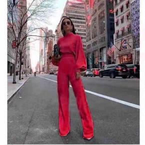 Γυναικεία ολόσωμη φόρμα με φαρδύ μανίκι 3572 κόκκινη