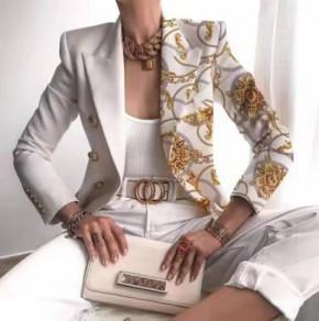 Γυναικείο εντυπωσιακό σακάκι με φόδρα 5652 άσπρο