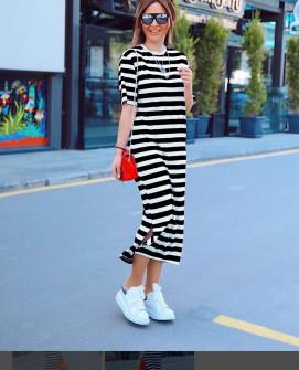 Γυναικείο μακρύ φόρεμα με κοντό μανίκι 5141 μαύρο
