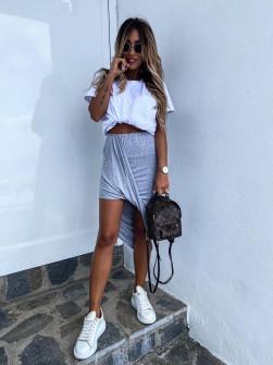 Γυναικείο σετ φούστα και μπλούζα 2467 γκρι