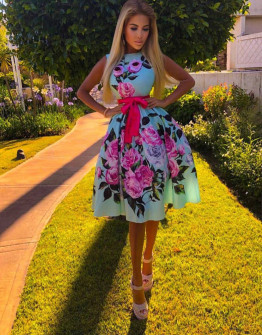 Γυναικείο φόρεμα με φλοράλ ντεσέν 9234 μπλε