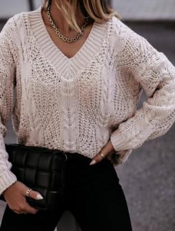 Γυναικείο πουλόβερ με ανοιχτή λαιμόκοψη 00896  μπεζ