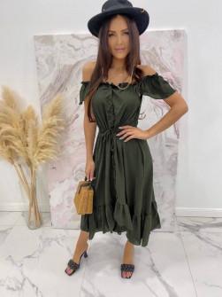Γυναικείο φόρεμα με κουμπιά 3726 χακί