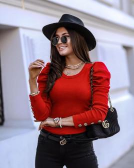 Γυναικεία μπλούζα με χρυσά κουμπιά 5375 κόκκινη