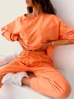 Γυναικείο μονόχρωμο σετ 61070 πορτοκαλί