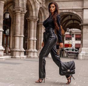 Дамски кожен панталон с капси 821А