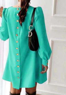 Γυναικείο φόρεμα με κουμπιά στην πλάτη 3977 μέντα