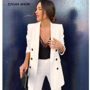 Γυναικείο σετ σακάκι και παντελόνι 5013 άσπρο