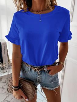 Γυναίκεια μπλούζα με βολάν στο μανίκι 5097 μπλε