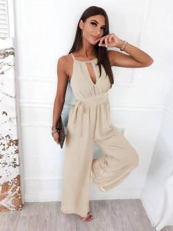 Γυναικεία εντυπωσιακή ολόσωμη φόρμα 5810 μπεζ