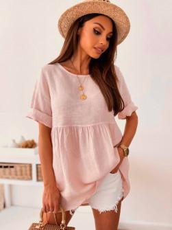 Γυναικείο μονόχρωμο μπλουζοφόρεμα 27931 ροζ