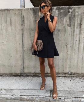 Γυναικείο φόρεμα με κουμπιά από τις δύο πλευρές 5066 μαύρο