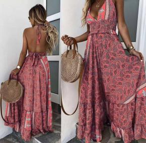 Γυναικείο μακρύ φόρεμα με σχέδια 500305