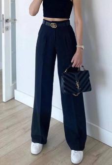 Γυναικείο φαρδύ παντελόνι με ζώνη 5508 σκούρο μπλε