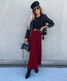 Γυναικεία μακριά φούστα πλισέ 6064 μπορντό