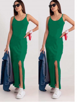 Γυναικείο μακρύ φόρεμα με σκίσιμο 2392 πράσινο
