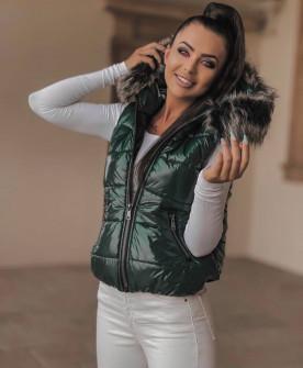 Γυναικείο γιλέκο με χνουδωτή κουκούλα 82253 πράσινο