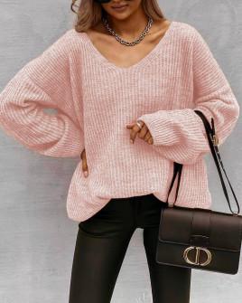 Γυναικείο φαρδύ πουλόβερ 88080 ροζ