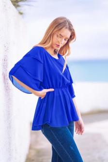 Γυναικεία μπλούζα με εντυπωσιακό μανίκι 5071 μπλε