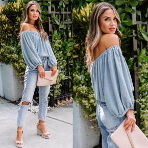 Γυναικεία έξωμη μπλούζα 2404 γαλάζια
