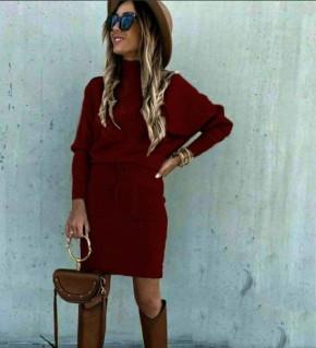 Γυναικείο σετ φούστα και μπλούζα 26891 μπορντό