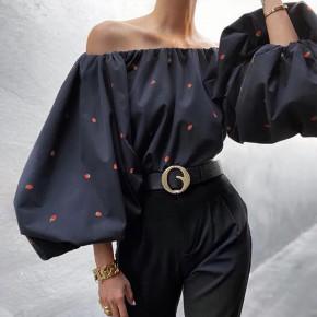Γυναικεία μπλούζα με φουσκωτό μανίκι 3702 μαύρο