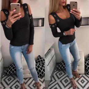 Γυναικεία έξωμη μπλούζα με τρούκς 2040 μαύρη