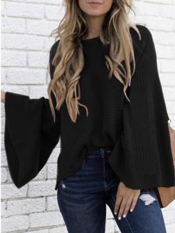 Γυναικείο πουλόβερ με φαρδύ μανίκι 2532 μαύρο