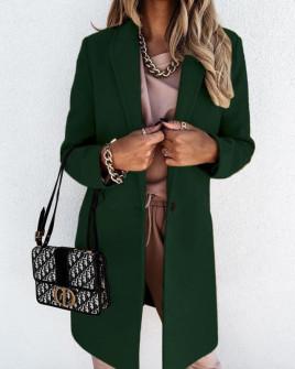 Γυναικείο κομψό παλτό με φόδρα 5332 πράσινο