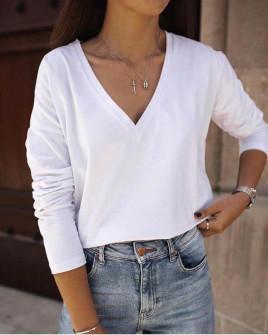Γυναικεία μπλούζα με βαθύ ντεκολτέ 1930 άσπρη