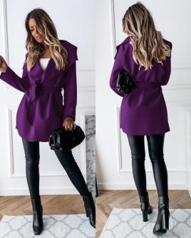 Γυναικείο παλτό με ζώνη χωρίς φόδρα 5290 μωβ