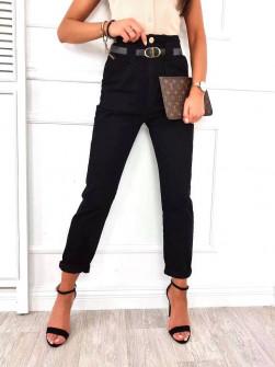 Γυναικείο παντελόνι με ζώνη 18158 μαύρο