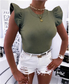 Γυναικεία μπλούζα με εντυπωσιακό μανίκι 2197 σκούρο πράσινο