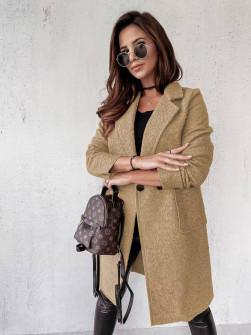Γυναικείο μπουκλέ παλτό 20055 μπεζ