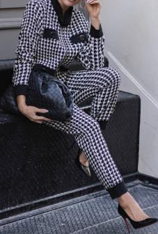 Γυναικείο σετ σακάκι και παντελόνι 3876 πρι καρό