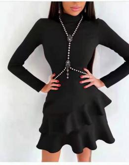 Γυναικείο κομψό φόρεμα 21655 μαύρο