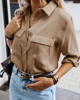 Γυναικείο πουκάμισο με τσέπες 5284 καμηλό