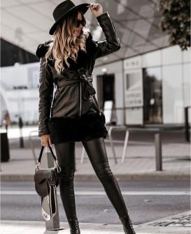 Γυναικείο μπουφάν με γούνινη επένδυση 0583 μαύρο