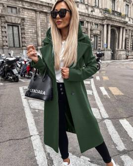 Γυναικείο μακρύ παλτό με φερμουάρ εσωτερικό και φόδρα 6072 σκούρο πράσινο