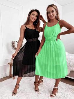 Γυναικείο μίντι φόρεμα με ζώνη 5826 πράσινο νέον