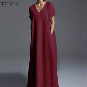 Γυναικείο plus size μακρύ φόρεμα 21476 μπορντό