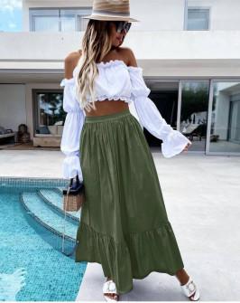 Γυναικεία χαλαρή φούστα 5636 χακί