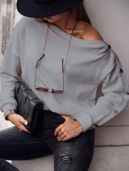 Γυναικεία μπλούζα με κουμπιά 15184 γκρι