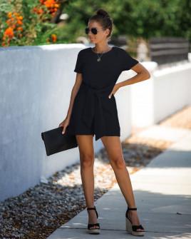 Γυναικεία ολόσωμη φόρμα με ζώνη κορδέλα 5085 μαύρη
